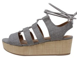 Shoes - Grey Linen Strappy Lace Up Woven Straw Flatform